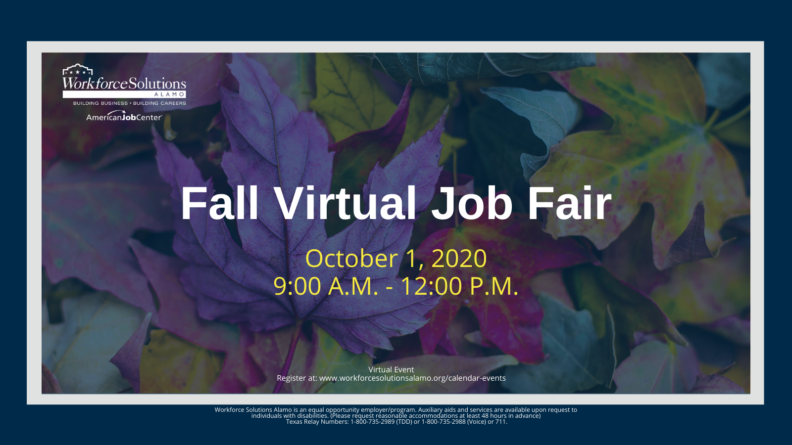 Flyer for Fall Job Fair from 10 a.m. to 12 p.m. October 1, 2020