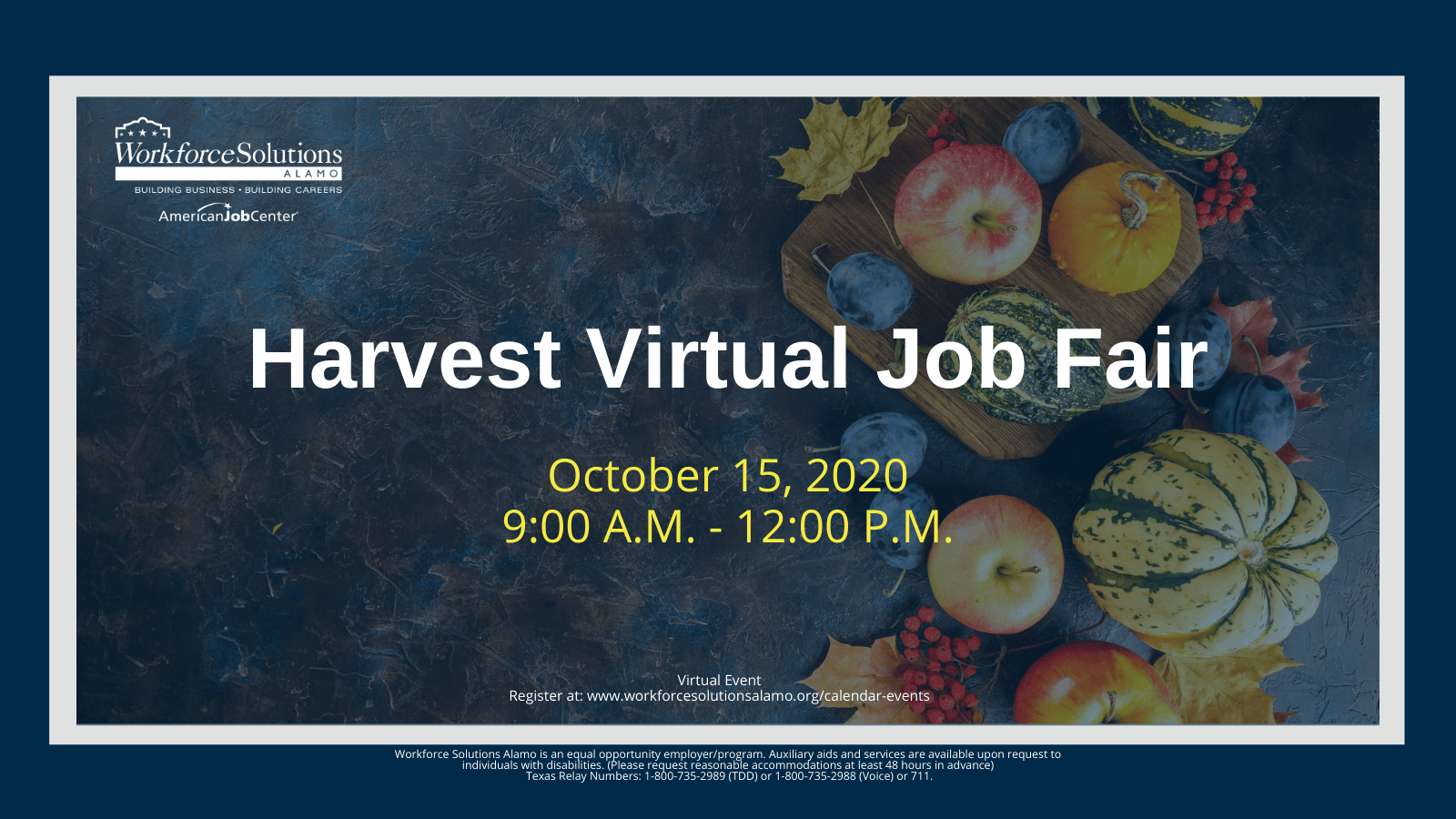 Flyer for Harvest Job Fair from 10 a.m. to 12 p.m. October 15, 2020