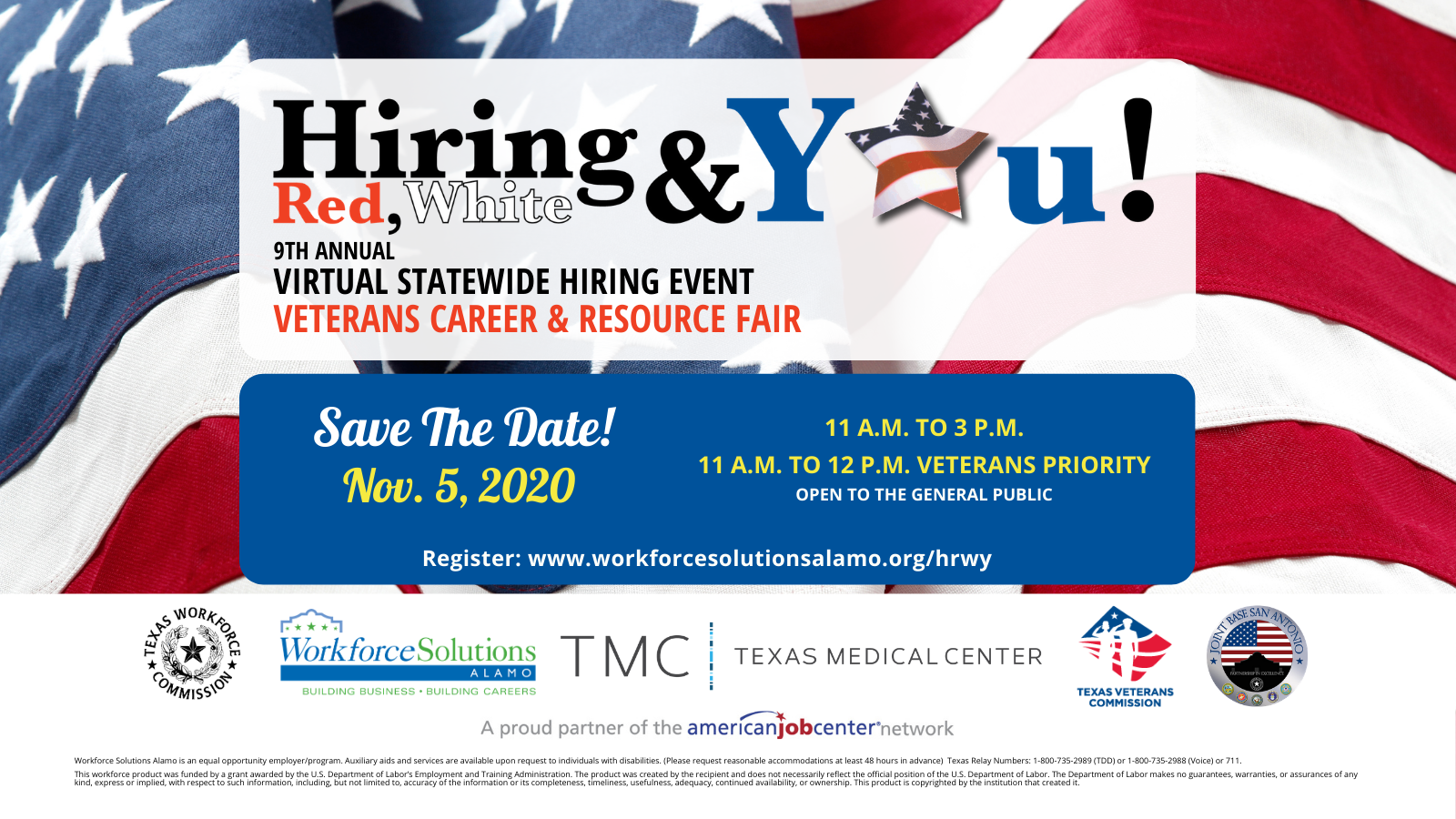 Hiring Red White & You Image depicting flag background, logo, event information: Nov 5, 2020 11AM - 3PM 11-12 PM Priority Veteran Service