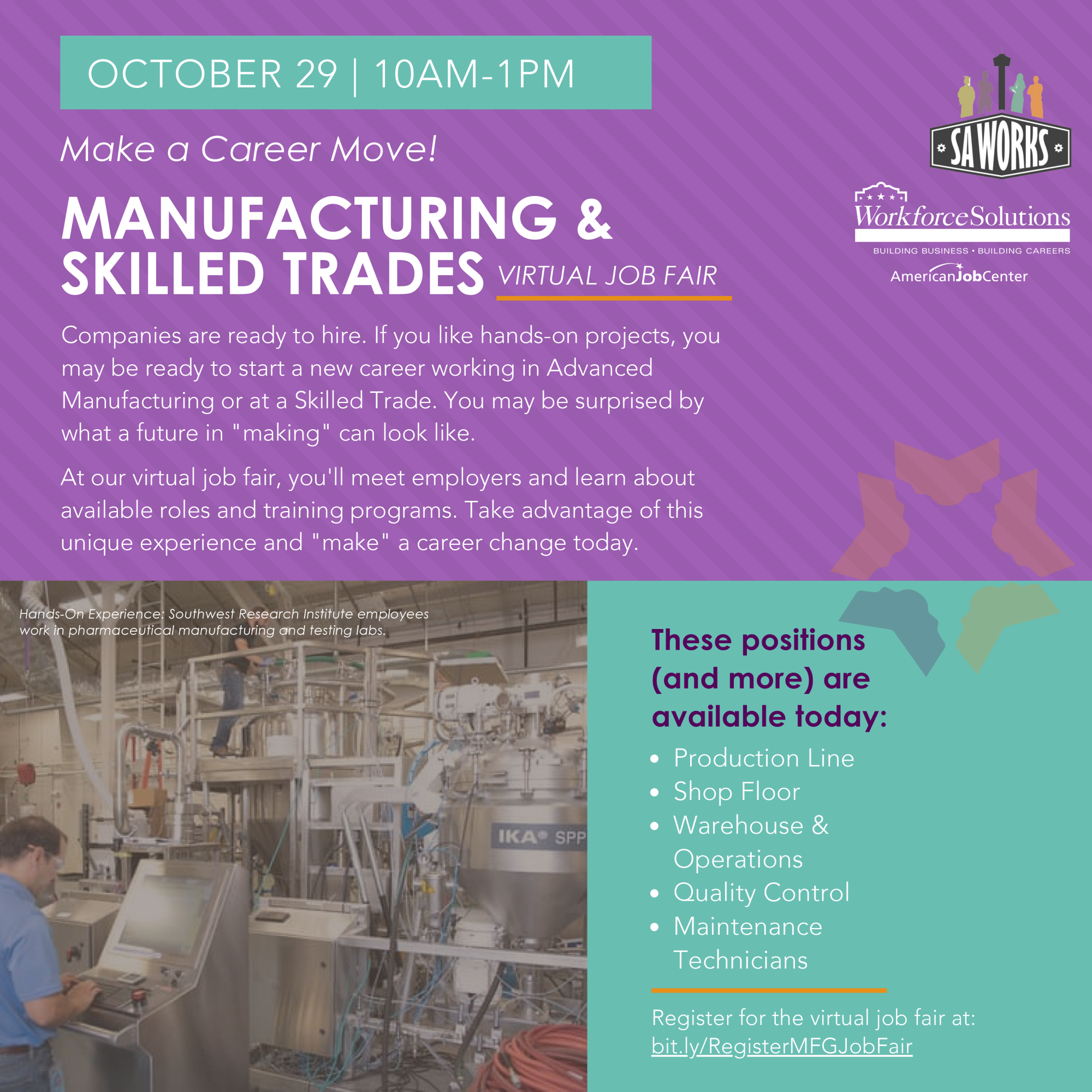 Flyer for Manufacturing & Skilled Trades Job Fair from 10 a.m. to 1 p.m. October 29, 2020 in partnership with SA Works