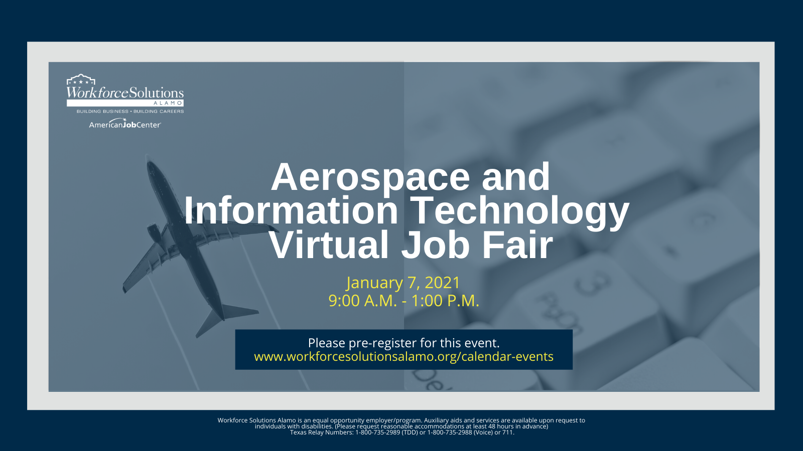 Flyer for Aerospace and Information Technology Virtual Job Fair, held Jan. 7, 2021 from 9 AM - 1 PM